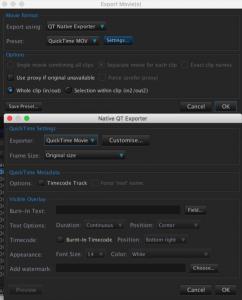 QT Exporter settings eg