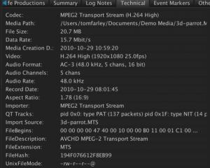 AVCHD metadata on import