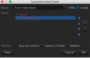 Customise details panel eg